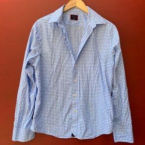 Untuckit Button Down Shirt - Blue Gingham Plaid